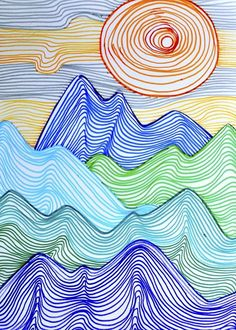 Lines can depict any shape; they can create tridimensional effects and give the perception of movement. I did this drawing with grade students, in order to create a mountain landscape using jus… to drawing mountains Mountains made up of lines Middle School Art, Art School, Primary School Art, High School, Line Art Projects, Garden Projects, Elements Of Art Line, Classe D'art, 4th Grade Art