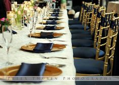 navy blue and gold reception tables - Google Search