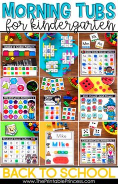 If you're looking to a worksheet alternative to traditional morning work, check out these morning tubs for kindergarten. There are 21 engaging and developmentally appropriate activities that students can complete as the school day begins. These back to school activities were designed to be simple enough that they can be completed independently, even during the first few weeks of kindergarten. You'll find ideas for strengthening fine motors, learning colors and patterns, letter recognition, count