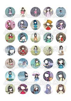 Diy Scrapbook, Scrapbooking, Bottle Cap Images, Digi Stamps, Amigurumi Doll, Collage Sheet, Vintage Postcards, Digital Image, Art Girl
