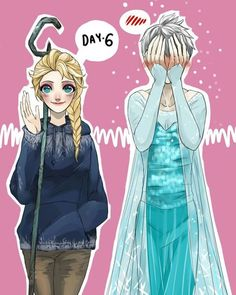 Elsa and Jack Frost. Hehe Jack Frost looks funny. I feel bad for him though. Jack Frost Und Elsa, Elsa E Jack, Jelsa, Disney Ships, Disney Art, Disney Memes, Disney And Dreamworks, Disney Pixar, Dreamworks Movies
