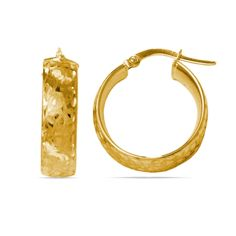 Textured Hoop Earrings in Yellow Gold. Multiple finishes and textures add complexity to these basic wide hoop earrings in 14k yellow gold. Handmade in Italy. https://www.brilliance.com/earrings/textured-hoop-fashion-earrings-yellow-gold