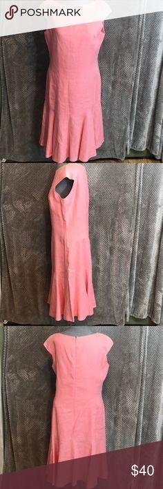 """Anne Klein linen drop waist dress Gorgeous linen drop waist dress. Zip up back. Cap sleeve. Bust 19"""". Length 40"""". Great pink! Anne Klein Dresses Midi"""