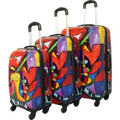 Dejuno Jazz Medley 3-Piece Lightweight Hardside Luggage Set ($288) ❤ liked on Polyvore featuring bags, luggage and red