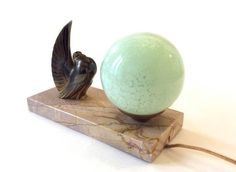 Bird Art Deco lamp. French Clichy green glassware . Jacques Adnet Pigeon.