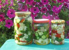 Sałatka ogórkowo-pieczarkowo-kalafiorowa  na zimę Nasu, Mason Jars, Mason Jar, Glass Jars, Jars