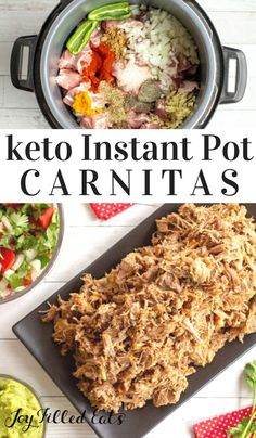 Instant Pot Carnitas Keto Low Carb GlutenFree GrainFree THM S When you sink your teeth into this incredible carnitas recipe you are going to be in food heaven Succulent. Low Carb Crockpot Chicken, Stew Chicken Recipe, Chicken Recipes, Joy Filled Eats, Healthy Comfort Food, Recipes From Heaven, Food Heaven, Grain Free, Low Carb Recipes