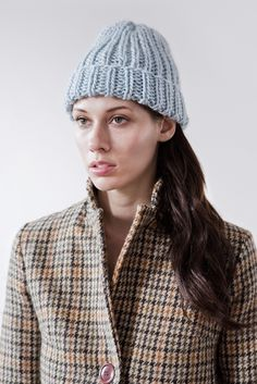 jarvis fisherman toque of silk, cashmere, merino blended wool (shown in heather blue)