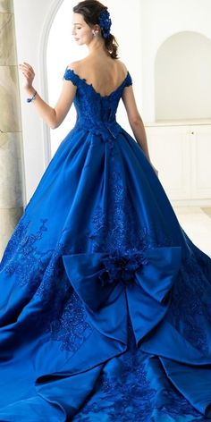 Something Blue: 30 Blue Wedding Gowns For your Happy Wedding ❤  blue wedding dresses a line low back with train bow yumikatsurajapan #weddingforward #wedding #bride Blue Wedding Gowns, White Bridal Dresses, Wedding Flower Girl Dresses, Country Wedding Dresses, Modest Wedding Dresses, Boho Wedding Dress, Floral Wedding, Open Back Wedding Dress, Wedding Dress Shopping