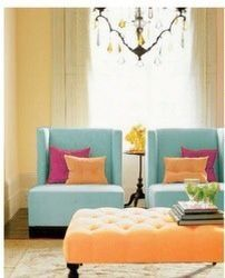 Triadic || The blue-green, yellow-orange and red-violet all add to make this room bright and refreshing, without using any harsh colors. The pastel values of these colors create a feeling a friendliness.