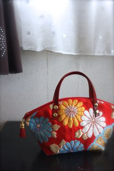 Obi / Kimono / Bag / RD776 Kiku(Chrysanthemums) And Ume (Plum Blossoms) Pattern Mini Bag With Leather Handles by RummyHandmade on Etsy