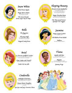 Free PDF of Princess Party Menu (with princess movie quotes!) - Crafty Party Basic idea, will definitely tweak it though! Third Birthday, 4th Birthday Parties, Birthday Ideas, Friend Birthday, Disney Princess Birthday Party, Princess Themed Food, Disney Princess Food, Cinderella Party Food, Princess Party Foods