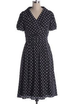Indie, Retro, Party, Vintage, Plus Size, Convertible, Cocktail Dresses in Canada RESTOCK COMING: Old Town Cafe Dress - Vintage inspired. Navy dress white dots. Overlap at front and short princess sleeves. Knee length skirt and hip pockets. 100% polyester. Not stretchy. Lined. Side zipper.