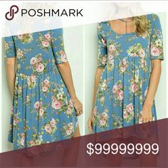 1 day sale Floral tunic dress Feminine floral print dress. 87 % polyester 10% Rayon  3% spandex. Dresses