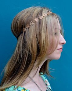 SALE! Rose Elastic Headband Gold Hair Chain Jewelry Boho Hippie Cute Sexy Headpiece Festival Spring Summer Prom Wedding