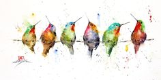 HUMMINGBIRDS on a WIRE Watercolor Hummingbird Print by Dean Crouser by DeanCrouserArt on Etsy Watercolor Hummingbird, Hummingbird Art, Watercolor Bird, Watercolor Animals, Watercolor Landscape, Watercolor Painting Techniques, Watercolor Artists, Watercolor Paintings, Original Paintings