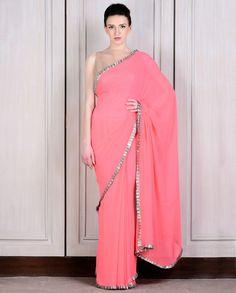 Peach Sari With Sequin Pleated Border