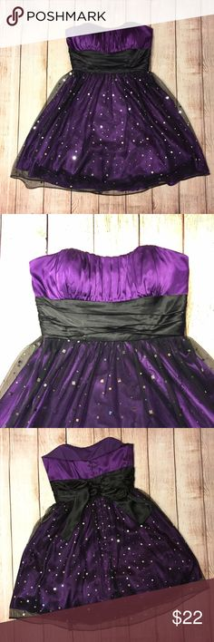 Purple dress Purple strapless dress for homecoming or formal. Sparkly accents on bottom. Ties in the back so can work for a size smaller. Great condition only worn once. Blondie Nites Dresses Mini