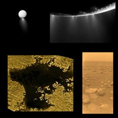 "Here are three of the greatest discoveries of the Cassini-Huygens mission, which was 10 years old in 2014. The discovery of geysers on the moon Enceladus, lakes of liquid methane on Titan, and the a picture taken from the surface of Titan by the Huygens lander. Mona Evans, ""Titan - Planet-sized Moon of Saturn"" http://www.bellaonline.com/articles/art182860.asp"
