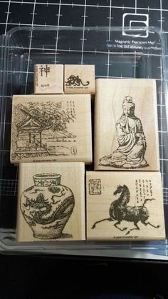 Ancient Asia Stampin Up Rubber Stamp Set Far East Dynasty Dragon Vase Buddha | eBay