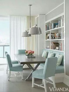 A dining room with subtle sheen