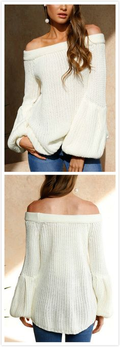 With white off-shoulder sweater, you will remember that simplicity is the highest form of comfort. It comes with lantern long sleeves and off shoulder. Team this jumper with your skinny jeans for a fashion look.