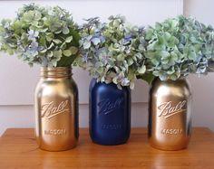Wedding Table Decorations Painted mason jars by VazinMelb on Etsy