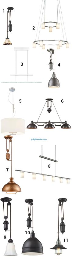 These pendant lights all have a special feature that helps them fit your style and needs--they're adjustable! These lights have pulleys or counterweights so you can adjust the hanging height and change it as needed. Take a look at some of our favorite retractable pendant lights on our blog.