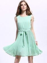 Lovable Green Chiffon Pleated Crewneck Skater Dress