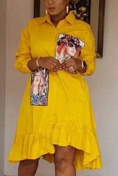 Dressy Casual Outfits, Cute Dress Outfits, Trendy Summer Outfits, Nice Dresses, Casual Clothes, Leopard Fashion, Yellow Fashion, African Wear, African Fashion