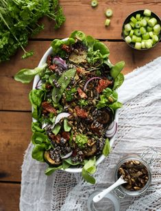 Green Salad + Fried Zucchini + Roasted Sour Cream Seeds