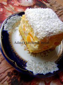 Adina's kitchen & travel: Prajitura cu crema de vanilie si piersici din compot Gordon Ramsay, Deserts, Pudding, Sweets, Fruit, Breakfast, Kitchen, Travel, Food