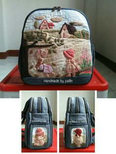 Pin by Monica Lindberg on väskor o kassar Japanese Patchwork, Patchwork Bags, Quilted Bag, Patch Quilt, Applique Quilts, Craft Bags, Fabric Bags, Stuffed Animal Patterns, Cute Bags