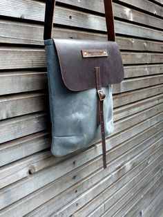Waxed canvas messenger bag/Ipad bag/day bag with waxed leather strap,COLLECTION UNISEX on Etsy, $98.00