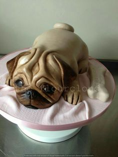 A gorgeous Pug birthday cake. Puppy Birthday Cakes, Puppy Birthday Parties, Birthday Cake Girls, Fancy Cakes, Cute Cakes, Bird Cakes, Cupcake Cakes, Pugs, Pug Cake