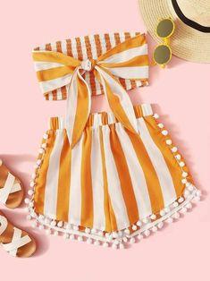 Girls Knot Shirred Bandeau And Pompom Shorts Set – kidenhome Cute Teen Outfits, Teenage Girl Outfits, Girls Summer Outfits, Cute Comfy Outfits, Girls Fashion Clothes, Teen Fashion Outfits, Outfits For Teens, Stylish Outfits, Girl Fashion