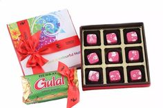 Abeer box of 9 - with 9 chocolates and  Herbal gulaal