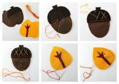 Simpele herfst figuurtjes , gemaakt van vilt. Maak een slinger of gebruik als onderzetters.