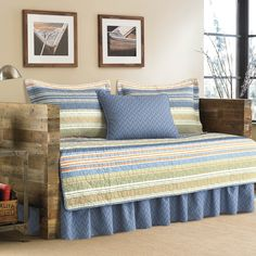 This beautiful daybed cover set in green and blue stripes is crafted in 100 percent cotton for comfort and softness.  This lovely set is conveniently machine washable.