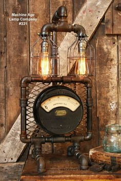 Steampunk Lamp Industrial Machine Age Steam Gauge Light Train Nautical Loft Gear