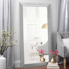 Textured Silver Framed Mirror, 38x68 in.  - $99.99