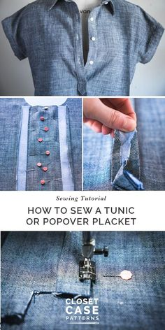 Easy to follow tunic or popover placket sewing tutorial // Closet Case Patterns