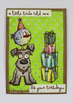 Birthday card with Tim Holtz crazy creatures