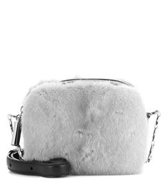 CHRISTOPHER KANE Box Fur-Embellished Leather Crossbody Bag. #christopherkane #bags #shoulder bags #lining #fur #crossbody #