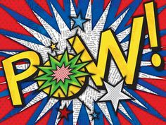"""""""Pow"""" - Canvas Wall Art from Oopsy daisy, Fine Art for Kids; great for a little boy's superhero bedroom or playroom"""