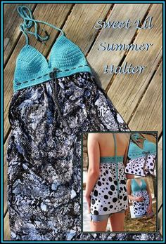 Crochet Dresses Patterns Sweet Lil Summer Halter with Free Pattern - Free Crochet and Fabric Dress Patterns to combine the two crafts of sewing and crochet. The design is unique and the final product is really amazing. Mode Crochet, Crochet Yoke, Crochet Fabric, Diy Crochet, Crochet Bikini, Crochet Patterns, Sewing Patterns, Skirt Patterns, Coat Patterns