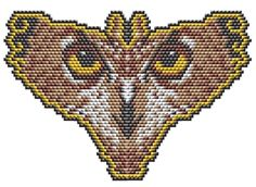 Beading Pattern: Owl Eyes Butterfly Amulet or Pendant for sculptured brick stitch