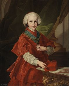 c.1737.Infante Luis Antonio Jaime of Spain, the Cardinal-Infante (Madrid,25 July 1727-Vila de Arenas de San Pedro,Ávila, 7 August 1785),Infante of Spain, Cardinal Deacon of the Title of the church of Santa Maria della Scala in Rome,Archbishop of Toledo and Primate of Spain and 13th Conde de Chinchón Grandee of Spain First Class with a Coat of Arms of de Bourbon.Luis was a son of Philip V,King of Spain and his second wife,Elisabeth of Parma.by Louis Michel van Loo.Museo del Prado.88x72cm