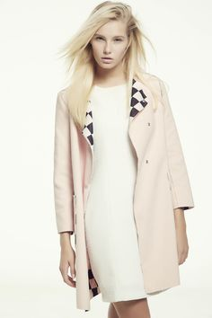 Pink Long Sleeve Checkerboard Pattern Lapel Trench Coat