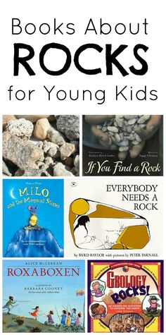Books about rocks for preschoolers and young kids. Great resources for rock theme.